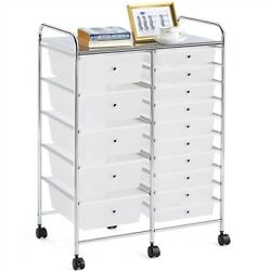 Utility Cart With 15 Drawers Rolling Storage Cart Tools Scrapbook Paper Office