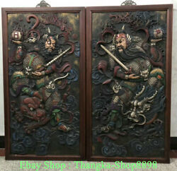 52 Chinese Wood Painted Relief Sculpture Ancient Guardian Door-god Wall Plaque