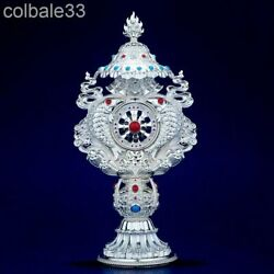 18cm Customize 925 Sterling Silver Eight Auspicious Things Statue