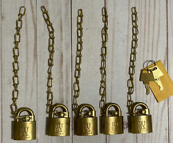 5 New Vintage Us Army American Lock Sets Usa Brass Padlocks With Chains And Keys