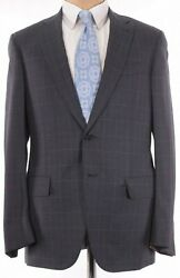 Isaia Nwt Suit Sz 40r In Charcoal Gray W/ Blue Plaid Flannel Wool 3,995