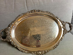 Baroque By Wallace Silver Plate Holloware Oval Serving Tray Handles 293 Vtg
