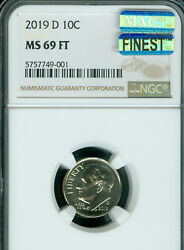 2019-d Roosevelt Dime Ngc Ms-69 Ft Mac Finest Grade And Spotless ..