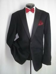 Arnold Brant Solid Black 2 Buttons Flannel Cashmere And Mink Tuxedo Jacket 46 L