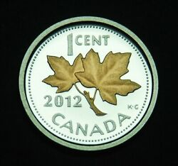 Farewell To The Penny - 2012 Canada 1¢ Fine Silver With Gold Plating