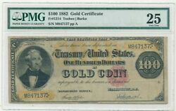 1882 100 One Hundred Dollar Gold Certificate-pmg 25 Very Fine-scarce-ships Free