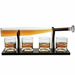 Whiskey Decanter And Glasses Set With Bracket Bourbon Scotch Rum Tequila Bottle