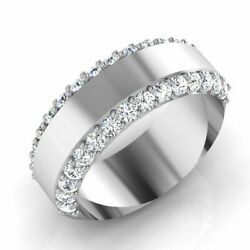 18k White Gold 0.90 Ct Real Diamond Wedding Menand039s Band Size 8 9 10 Certified