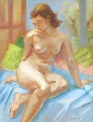 Yvette Bossière 1926, Vintage French Oil Painting, Nude Woman, Model, Signed