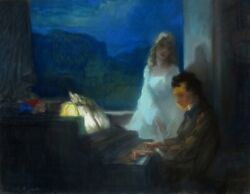 Marcel Fandeacuteguide 1888-1968 Vintage French Pastel Painting Beethoven Piano Signed