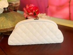 Authentic Classic Timeless Clutch Quilted White Caviar Shw