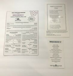 Authentic Wrestlemania V Match Sheet Lineup Card, Schedule And Poem Trump Plaza