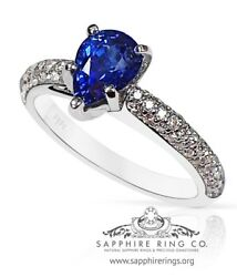 Gia Certified 14 Kt W/g 1.96 Tcw Pear Cut Blue Natural Sapphire And Diamond Ring