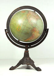 Antique 1908 W And Ak Johnston Terrestrial Globe 8 In English Iron Claw Foot Base