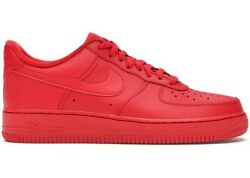 Nike Air Force 1 One Lv8 Andldquotriple Redandrdquo University Red Cw6999-600 Men And Gs 3.5y-15
