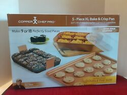 Copper Chef Xl Bake And Crisp Pan With Cookie Sheet And Lid - Make Up To 18 Brownies