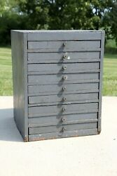 Vintage Apothecary Cabinet 9 Wood Drawer Organizer Cupboard Farmhouse Industrial