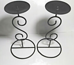 """Pair of 7½"""" Black Metal Pillar Candle Stands w Scroll Design 2 7 8"""" Wide at Top"""