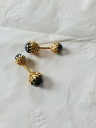 And Co. 18k Yellow Gold And Hematite Acorn Cuff Links, 17.2gm, S105852
