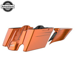 Single Cutout Amber Whiskey Stretched Saddlebags Pinstripes Fits 14+ Harley