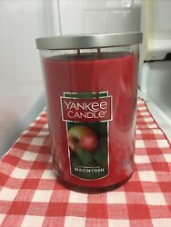 NEW Yankee Candle Double Wick 22 Ounce Macintosh Apple Scented Red Candle USA