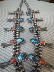 Blue Bisbee Turquoise Coral Sterling Silver Squash Blossom Necklace 242gr28l