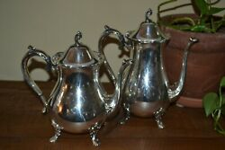 2 Vintage 1846 Rogers Bros Reflection Teapot Coffeepot - Silverplate