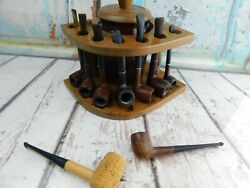 Vintage Dun-rite Wood Nov Inc 7 Pipe Stand Brown Glass Humidor + 9 Pipes