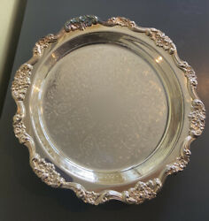 Lancaster Rose Epca Silver Plate By Poole 430 Round Tray Ornate/etched