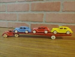 Nice 1930and039s Hubley Diecast Car Carrier Transport Truck With 3 - Hubley 2272 Cars