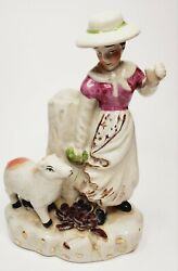 Antique Staffordshire Spill Vase Woman With Calf Figurine Large
