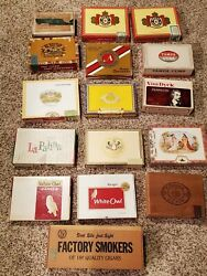 Lot Of 16 Random Vintage Cigar Boxes - Wooden And Decorative Paper