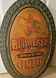 32 Vintage Budweiser King Of Beers On Tap Oval Wall Sign Bar... Light Weight