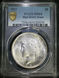 1921 P Peace Silver Dollar Pcgs Ms64 High Relief Key Date Low Mintage White Coin