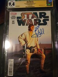 Star Wars 1 Cgc 9.4 Ss Mark Hamill And Sketch - Green Label Movie Photo