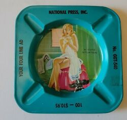 C1950s Pinup Tin Ashtray N Risque Girl Vtg National Press Inc A Cute Situation