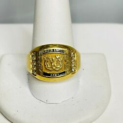 Vintage 18k Textured Yellow Gold United States Army Diamond Ring