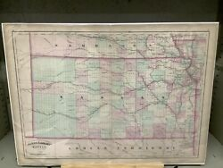 """1873 Asher And Adams' Map Of Kansas 17.25 X 24"""" Hand-colored"""