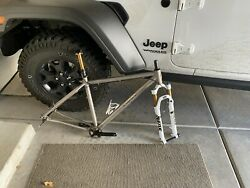 Spot Large Mountain Bike Frame With Fork, Headset, Cranks, And Dropper Post