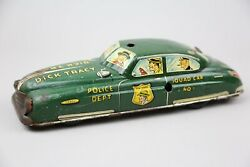 1949 Marx Dick Tracy Police Squad Car Vintage Wind Up Tin Toy No Key Antique