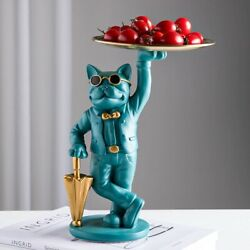 Statue French Figurine tray Bulldog Sculpture Storage Animal Decoration For Home