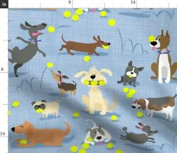 Love Dogs Tennis Balls Labrador Poodle Beagle Spoonflower Fabric By The Yard