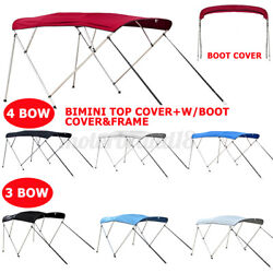 Standard Bimini Top 3 / 4 Bow Boat Cover 6/8ft Long W Rear Poles And Storage Boot
