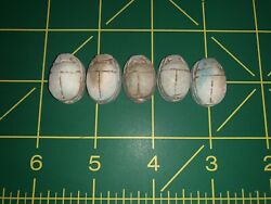 Five 5 Antique Egyptian Carved Stone Faience Scarab Beads Pendants