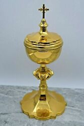 + Nice Older Gothic Cup Sterling Ciborium By Benziger Bros + Chalice Co Cu263