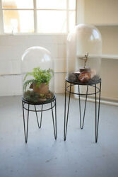 Kalalou Decorative Set Of 2 Clear Glass Display Domes On Black Metal Bases Stand
