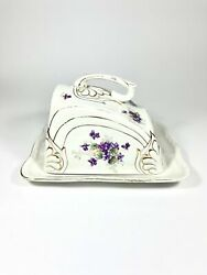 Covered Cheese Dish Large Butter Dish Antique Floral Covered Porcelain England