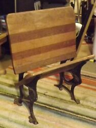 Wrought Iron And Oak Victorian School Desk Chair 1877 Embossed Buffalo Ny Foldable