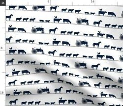 Farm Animals Parade Dusty Blue Navy Tractor Spoonflower Fabric By The Yard
