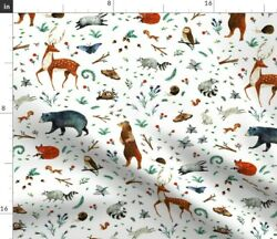 Woodland Forest Animals Baby Nursery Nature Deer Spoonflower Fabric By The Yard